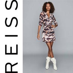 REISS ORLA IKAT PRINTED MINI DRESS BERRY